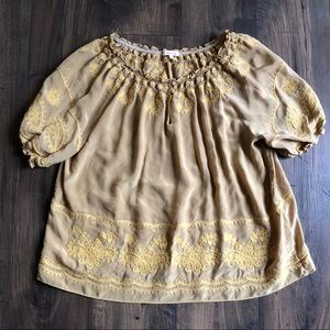 Sundance 100% Silk Yellow Gold Blouse XL